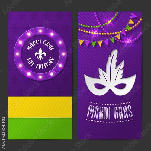 Set of vector mardi gras brochures fat tuesday symbols and shining set of vector mardi gras brochures fat tuesday symbols and shining beads on traditional colors m4hsunfo
