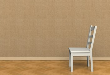Brown fabric wall texture with a chair