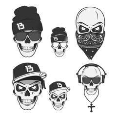 Set of vintage skull rap emblems, labels, badges, logos and design elements. Monochrome style.