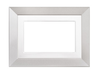 Silver coloured textured picture frame isolated on white