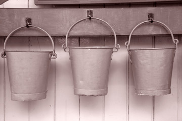 Three Buckets in Black and White Sepia Tone