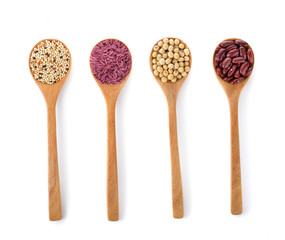 mung beans ,soybean ,purple rice and millet on white background