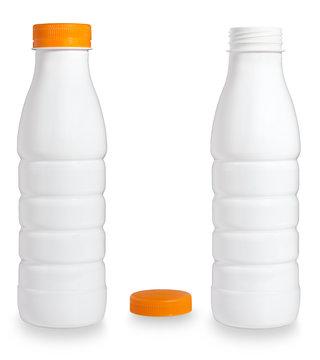 Blank white plastic bottle on white background