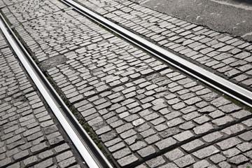 Tram Track on Cobbled Street