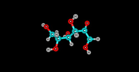 Fructose molecular structure isolated on black