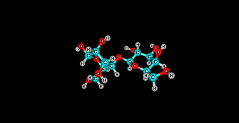 Lactose molecular structure isolated on black
