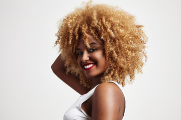 blondy afro hair woman
