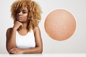 blondy black woman with a healthy skin in a loop zoom