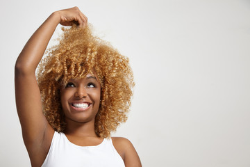 black woman have fun with a hair