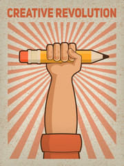 Illustration of a hand holding a pencil