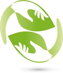 Zwei Hände und Blätter, Baum, Heilpraktiker, Logo