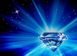 Large faux diamond with large burst of blue rays and tiny stars on black background