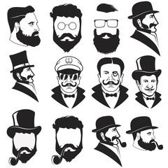 Set of gentleman's faces.
