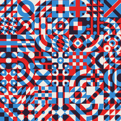 Vector Seamless Blue Red White Color Overlay Irregular Geometric Blocks Quilt Pattern