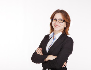 young business woman in black suit and glasses