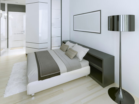 Modern bedroom in luxury apartment