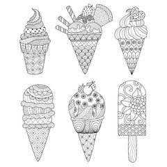 Zentangle ice cream set for coloring book for adult