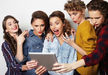 five hipster girls friends taking selfie with digital tablet
