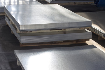 Fototapeta sheet tin metal in production hall