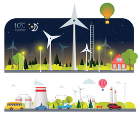 night flat infographic eco plant