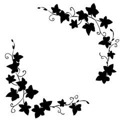 Black doodle ivy leaves pattern