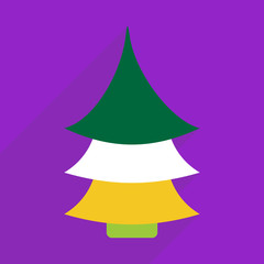 Flat design with shadow and modern icon fir-tree