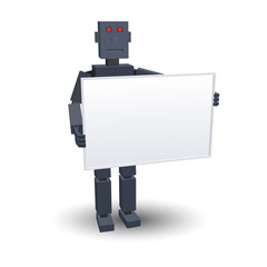 Abstract robot with empty board. Vector illustration.