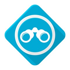 Blue icon binoculars with long shadow