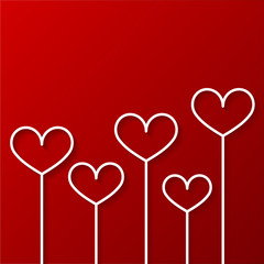 Hearts on sticks. Valentines day vector illustration.