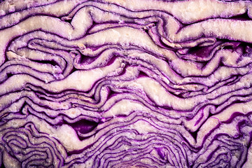 close up on red cabbage texture