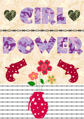 """Colorful T-shirt graphic design with """"Girl power"""" quote, guns, watercolored flowers, barbed wires and military camouflage patern- Eps10 vector graphics and illustration"""