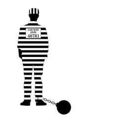 prisioner with ball illustration in black and white
