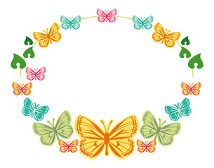 Round frame with colorful butterflies