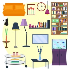 Set of home furniture for interior. Vector illustration of home furniture and stuff. sofa and bookshelf,
