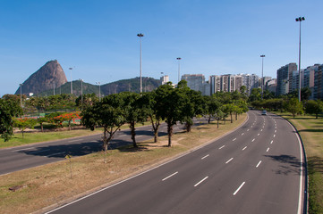 Four Lane Street in Flamengo Neighborhood with the Sugarloaf Mountain in the Horizon