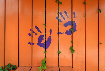 Positive drawing on the fence.