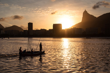 Sunset in Rio de Janeiro View from Botafogo and Fishing Boat in the Water