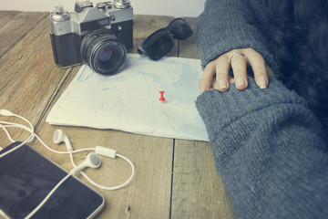camera and map