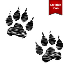 Animal Tracks. Vector illustration with pen effect