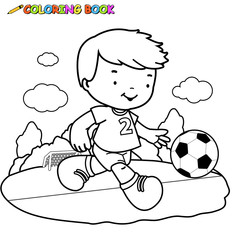 Black and white outline image of a boy playing soccer.