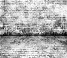White and black grunge urban art wall background