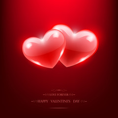 Happy Valentine's Day Poster. Two red glass hearts, vector