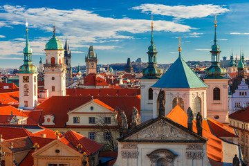 Aerial view over Old Town in Prague with domes of churches, Bell tower of the Old Town Hall, Powder Tower, Czech Republic