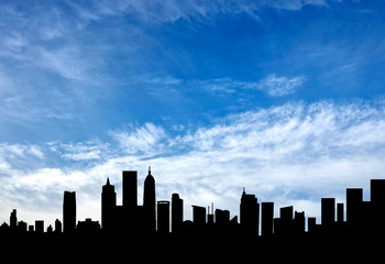 Silhouette of a beautiful cityscape