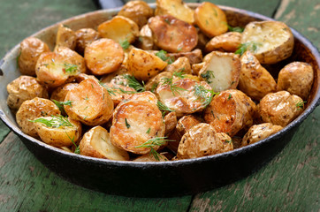 Roasted potatoes in frying pan