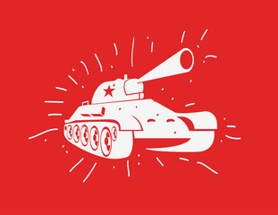 Vector silhouette of the Soviet tank. Vector hand drawn image.