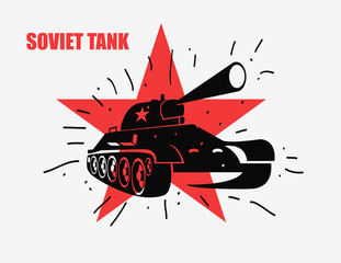 Vector silhouette of the Soviet tank against red star. Vector hand drawn image.