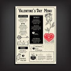 Valentine party invitation restaurant. Food flyer.