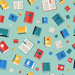 Books Seamless Pattern. Different Colorful Books