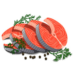 Four pieces of sliced salmon with dill and black pepper